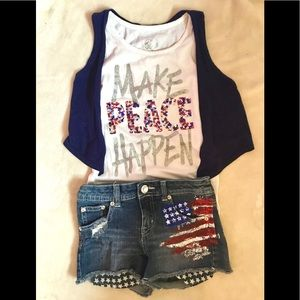 Super cute tank top with short shorts!